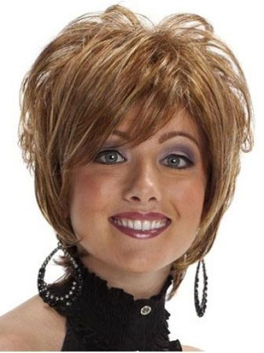 Great Layered Wavy Brown Short Synthetic Wigs For African American