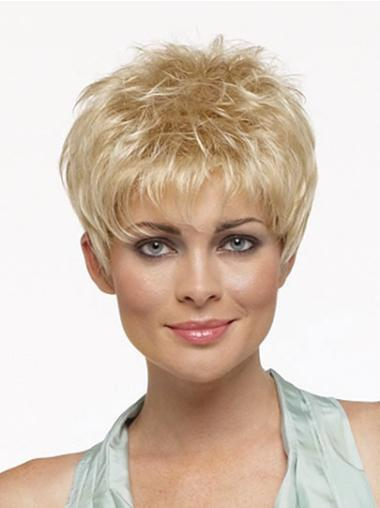 No-Fuss Cropped Straight Synthetic Realistic Blonde Wig