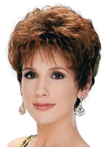 Brown Short Capless Layered Best Curly Synthetic Wigs