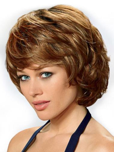 Fashionable Chin Length Auburn High Quality Synthetic Lace Front Wigs