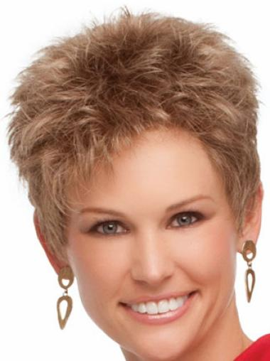 Stylish Wavy Cropped Capless Synthetic Natural Blonde Wigs
