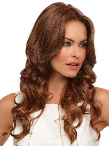 Style Long Without Bangs Wavy Auburn High Quality Soft Lace Synthetic Wigs