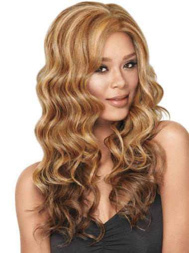 Long Without Bangs Capless 22 Inches Blonde Hair Wigs For Black Women