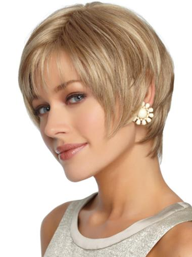 Blonde Layered Straight Synthetic Cheap Capless Short Wigs