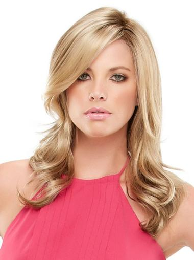 Discount Blonde With Bangs Wavy Long Synthetic Lace Wigs