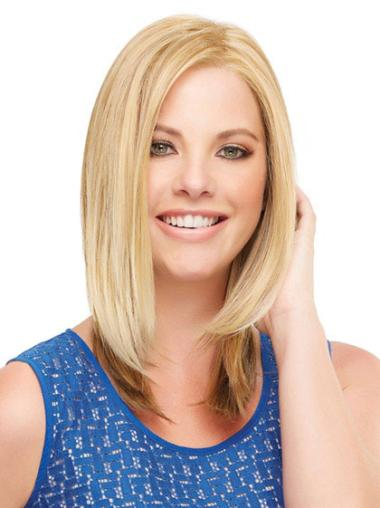 Straight Shoulder Length Suitable Blonde Lace Front Synthetic Wigs