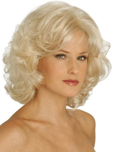 Curly Chin Length Fashion Synthetic Blonde Capless Wigs