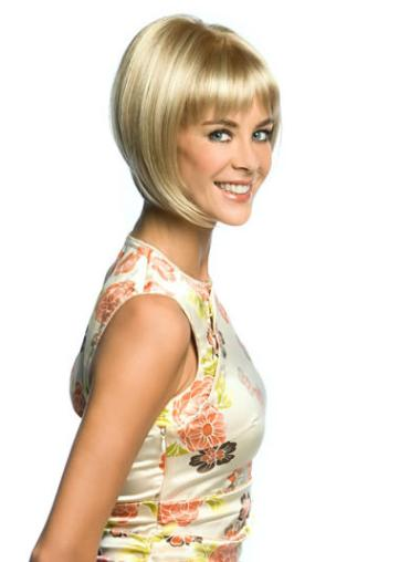 Bobs Straight Chin Length Natural Blonde Synthetic Lace Front Wig