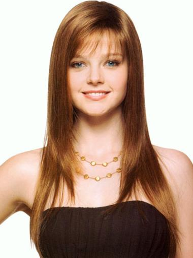 Long Straight Capless With Bangs Brown Caucasian Synthetic Wigs
