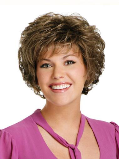 Capless Classic Brown Designed Short Curly Synthetic Wigs