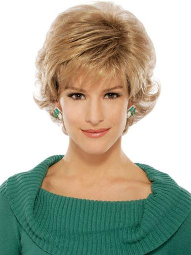 Wavy Boycuts Flexibility Synthetic Blonde Short Wigs