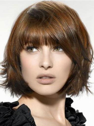 Brown Straight Chin Length Face Framing Synthetic Bob Wigs