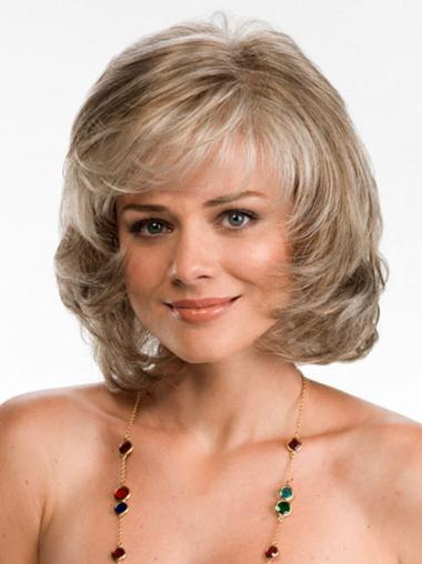 Chin Length Wavy Layered Blonde High Quality Synthetic Heat Resistence Lace Wigs