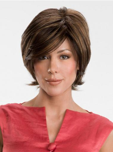 Chin Length Straight Brown Modern Lace Front Wigs With Bangs Synthetic