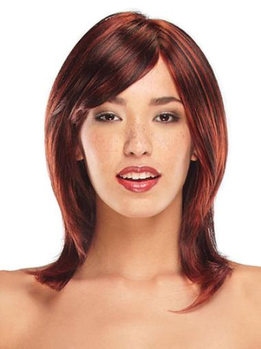 Straight Shoulder Length Layered Red Synthetic Lace Front Wig