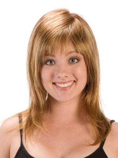Straight Synthetic Capless Layered Stylish Medium Length Blonde Wigs