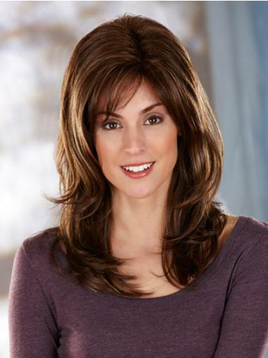 Wavy Long Brown Layered Synthetic The Most Natural Looking Capless Wig