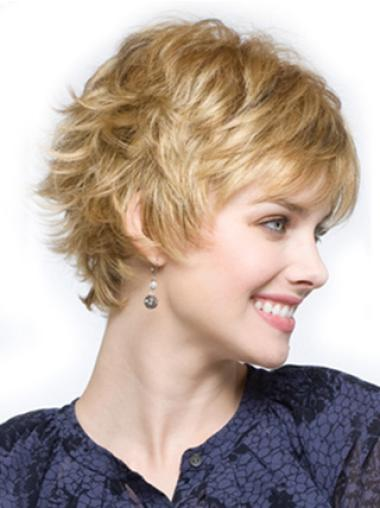 Wavy Cropped Blonde Layered Soft Synthetic Real Blonde Wig