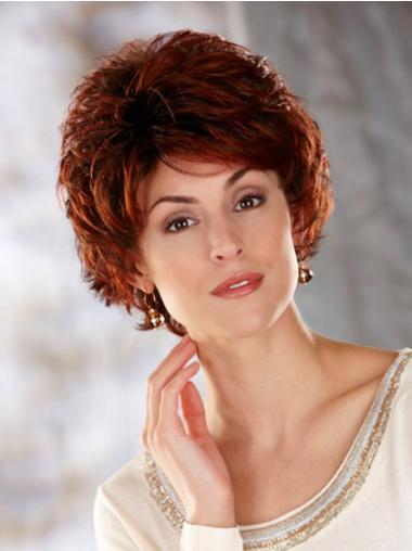 Wavy Cropped Auburn Classic Durable Women'S Synthetic Heat Resistant Wigs