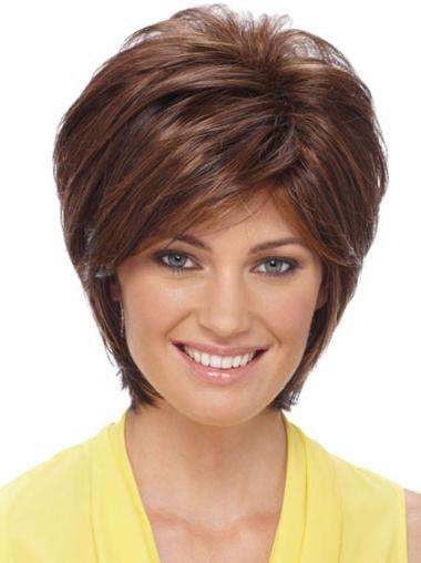 Short Layered Capless Beautiful Wigs For Elderly Women