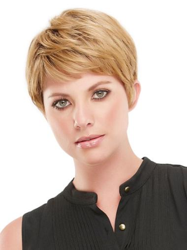 Straight Cropped Boycuts Exquisite Synthetic Sexy Blonde Wigs