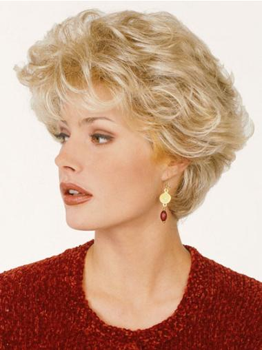 Wavy Synthetic Classic No-Fuss Blonde Short Hair Wigs