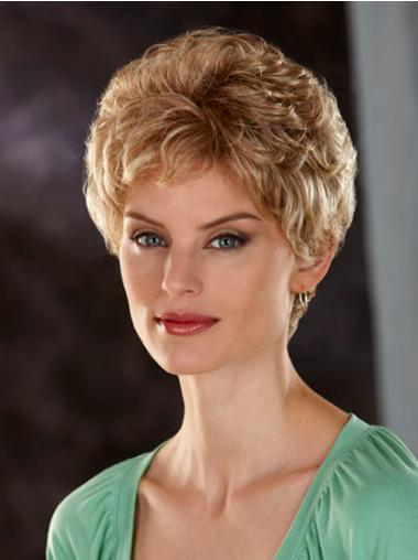 Fashionable Lace Front Wavy Short Synthetic Blonde Wigs