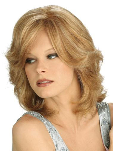 100% Hand-Tied With Bangs Synthetic Medium Length Blonde Wigs