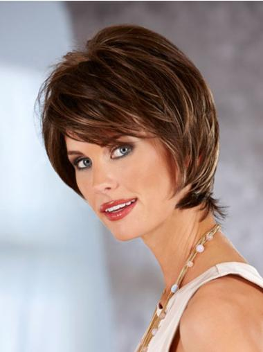 With Bangs Chin Length Auburn Lace Synthetic Wigs