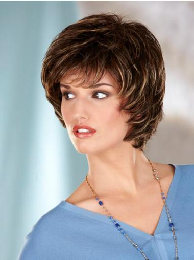 Capless Brown Wavy Synthetic Wigs Chin Length Bob