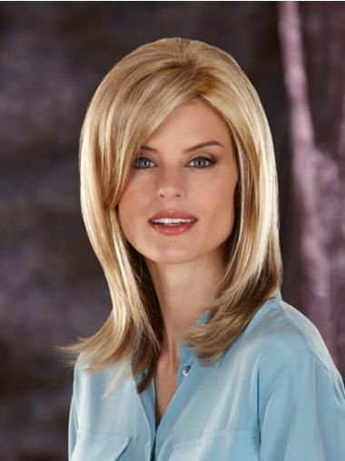 Capless With Bangs Synthetic Blonde Medium Lenght Wigs