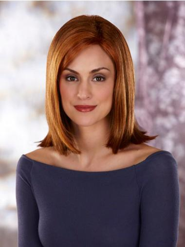 Without Bangs Shoulder Length Auburn Synthetic Lace Wig
