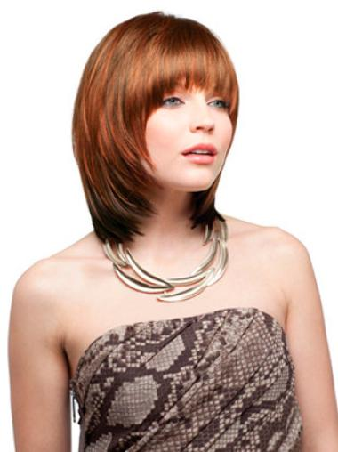 With Bangs Chin Length Auburn Synthetic Capless Wigs For Sale