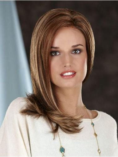 Modern Without Bangs Straight Long Brown Synthetic Lace Front Wig