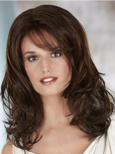 Brown Synthetic Wavy Stylish Classic Lace Front Wig With Bangs
