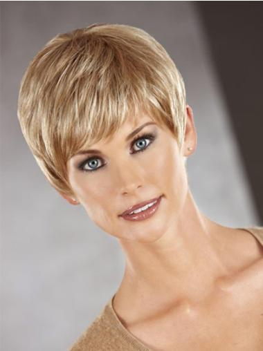 Cropped Boycuts Straight Synthetic Affordable Womens Capless Wigs
