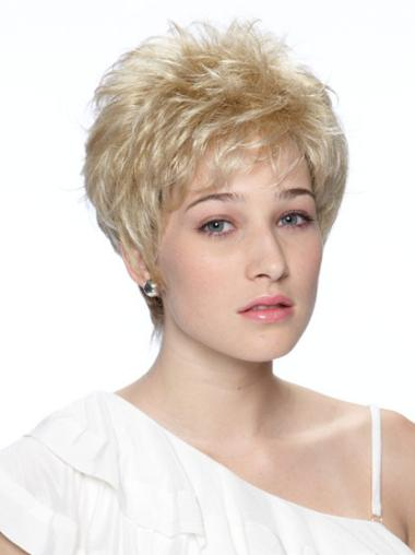 Capless Boycuts Cropped Exquisite Synthetic Real Blonde Wigs