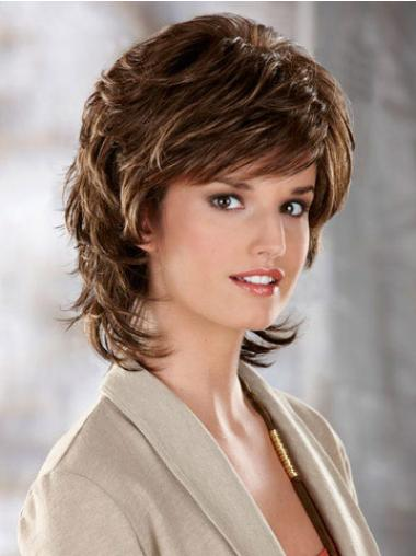 Brown Wavy Capless Classic Women'S Synthetic Layered Wig