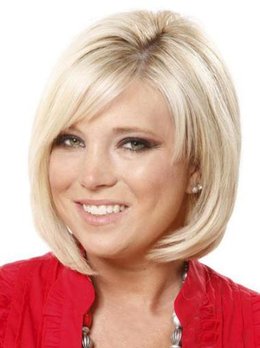 Synthetic Straight Blonde Convenient Bob Glueless Lace Front Wigs