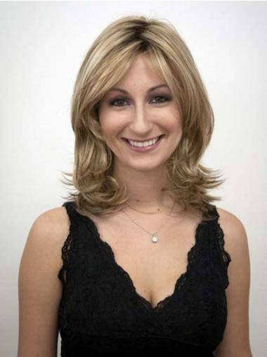 Capless Layered Shoulder Length Synthetic Blonde Wavy Wigs