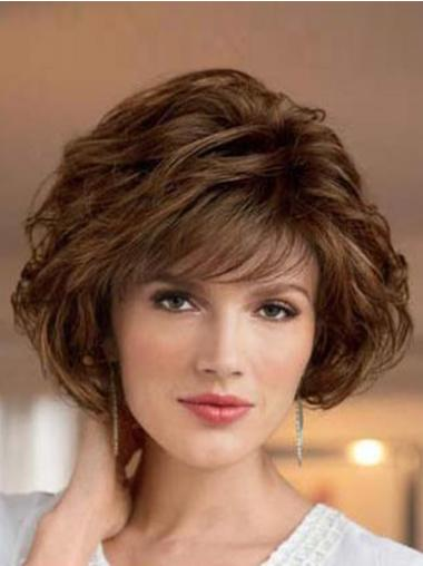Short Wavy Brown Suitable Classic Synthetic Bob Wig