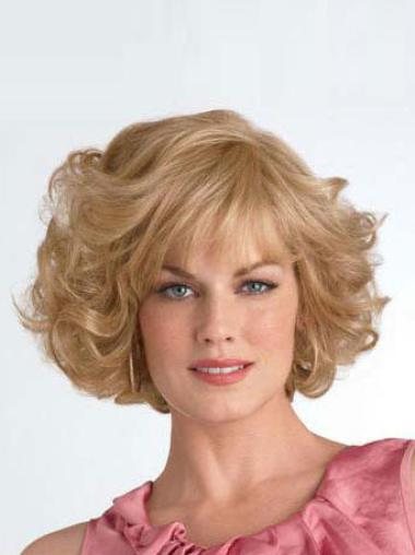 Layered Chin Length Popular Synthetic Curly Blonde Wig