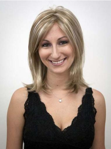 Capless Without Bangs Shoulder Length Synthetic Blonde Realistic Wigs