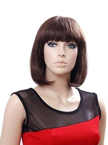 Capless Straight Chin Length Auburn 12 Inches Amazing Synthetic Bob Wigs