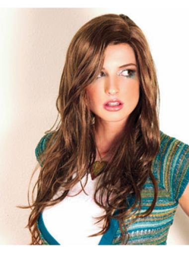 Wavy Brown 20 Inches Cheap Synthetic Capless Wigs New Styles For 2018