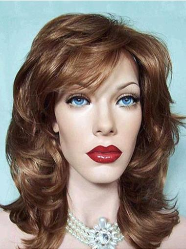 Sleek Synthetic Medium Length Brown Wigs