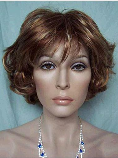 High Quality Wavy Lace Front Short Brown Blonde Wig