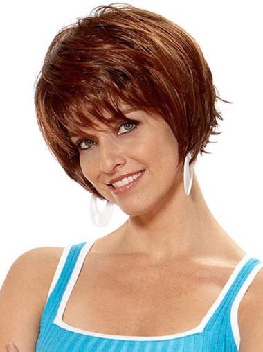 Straight Synthetic Dark Auburn Short Haired Wigs