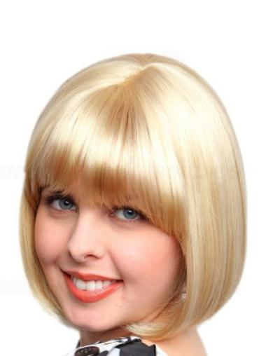 Bobs Straight Capless Blonde Wigs Medium