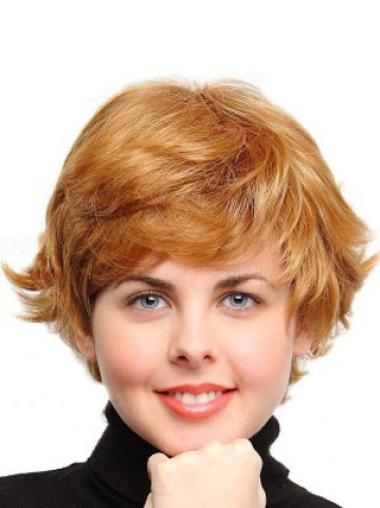 Wavy Synthetic Real Short Auburn Wigs